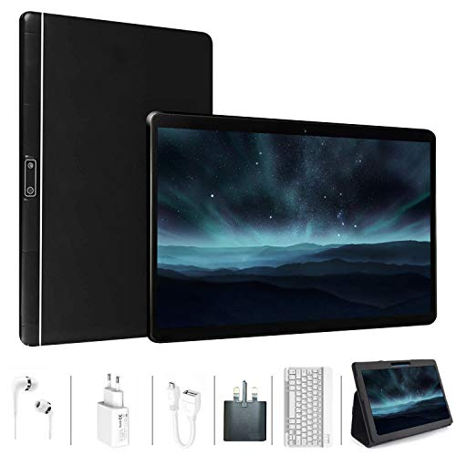 Tablets 10 inch, Android 9.0 Pie, 64GB ROM 4GB RAM, Quad-Core, Dual Cameras 5MP + 8MP, 8000mAh Battery, Keyboard, Mouse, Wi-Fi, Bluetooth