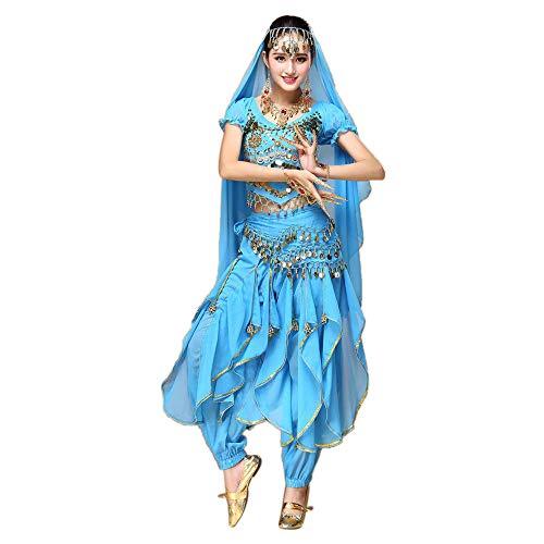 TWIFER Damen Bauchtanz Outfit Kostüm Indien Tanzkleidung Top + Hosen Für Party Tanzen Festival