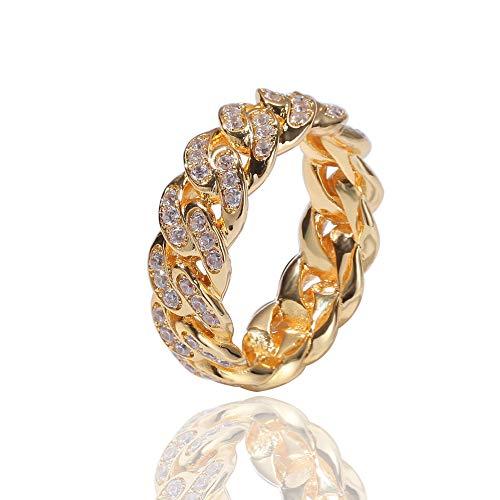 KMASAL Jewelry - Anillo de cadena de eslabones cubanos de moda chapado en oro de 18 quilates con diamantes de imitación de circonita cúbica para hombres y mujeres