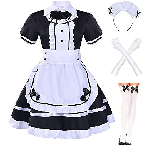 Maid Dress Cosplay Set Plus Size Sexy Pink Anime Kawaii French Lolita Dienstmädchen Kleid Kostüm für Halloween Karneval Fasching