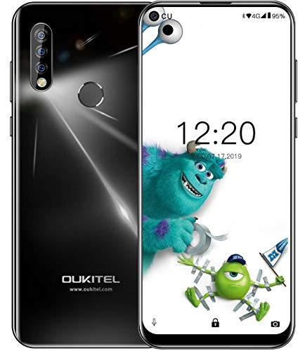 OUKITEL C17 Pro 4G Móviles(2019) Android 9.0 - Pantalla Completa de 6.35 Pulgadas de Agujero Ciego,4GB+64GB,Helio P23 Octa Core Dual SIM Teléfono, 13MP Cámara de Gran Ángular,3900mAh Batería,Negro