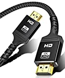 4K HDMI Cable 6 ft | High Speed, 4K @ 60Hz, Ultra HD, 2K, 1080P & ARC Compatible | for Laptop, Monitor, PS5, PS4, Xbox One, Fire TV, Apple TV & More(Black)