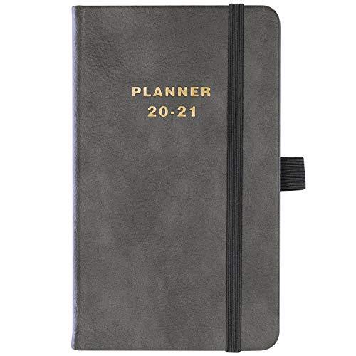 Terminkalender 2020-2021, Taschentagebuch A6 Woche zum Anzeigen des Tagebuchs von Juli 2020 bis Juni 2021, Taschenplaner, Bonus Innentasche, Grau