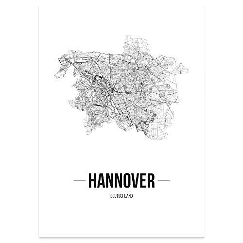 JUNIWORDS Stadtposter, Hannover, Wähle eine Größe, 21 x 30 cm, Poster, Schrift B, Weiß