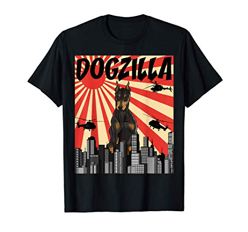 Perrozilla Perro Dogzilla Japonés Dóberman Camiseta