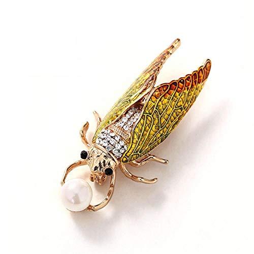 Pin de esmalte de cigarra de insectos, broches de escarabajo de moda, joyería, broche para mujer, regalo de joyería para mujer, amarillo