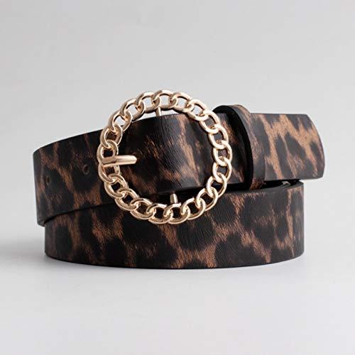 LPZW Cinturones de Cuero Negros para Mujeres 2020 Hebilla de Oro de la Cintura Moda Jeans de Moda Cintura Damas (Belt Length : 105x2.8cm, Color : Leopard Belt)