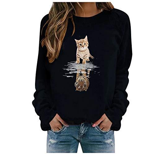 Xmiral Sweatshirt Pullover Damen Langarm Rundhals Gedruckt Lässiger Blusen Oberteile Herbst Winter Lose Warmes Bottoming Shirt(e-Schwarz,S)