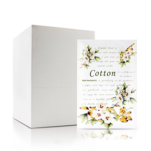 Feel Fragrance Scented Sachets for Drawer and Closet, Lot of 12 Pieces Inside. (Cotton)