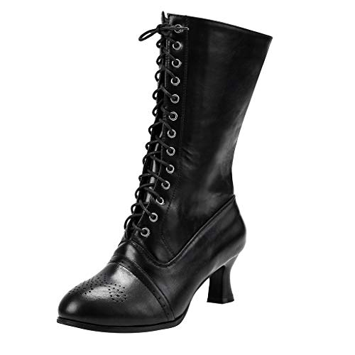 Purchase Sumeimiya Women's Mid Calf Leather Boots High Heel Lace Up Military Buckle Motorcycle Cowbo...