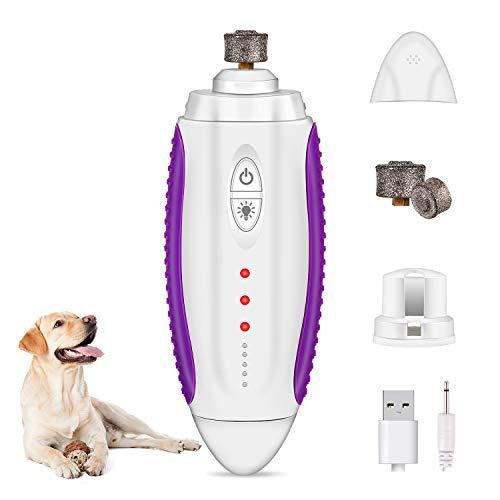 Lijadora de uñas para mascotas, Pecute para perros y gatos, con 50 decibelios, 3 marchas, recargable por USB, iluminación LED y 2 cabezales de lijado.