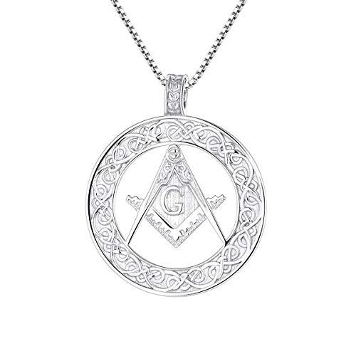 Starchenie Freimaurer Anhänger Halskette Rund Mason Symbol Buchstabe G 925 Silber Kette