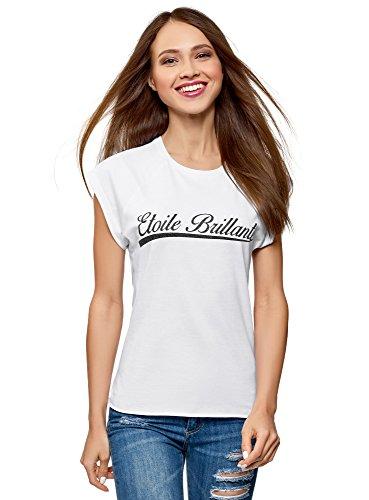 oodji Ultra Mujer Camiseta de Algodón con Mangas Raglán, Blanco, ES 34 / XXS