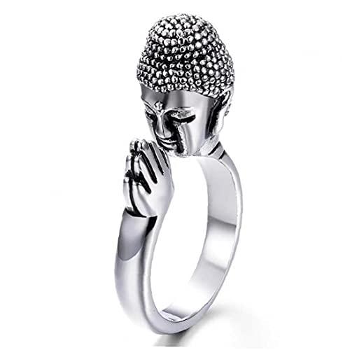 Legierung Unisex Frieden Buddha Shakyamuni Buddhismus-Kopf-Ring Für Den Frieden Beten Für Glück-justierbarer Ring