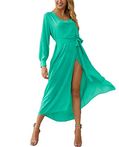 Dames zomer chiffon jurk met lange mouwen Sexy lange jurk, open V-hals jurk Feestjurk,Green,M