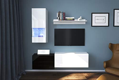 Home Direct Modernes TV Möbel mit LED Beleuchtung Schrank Wohnschrank Wohnzimmer Schrankwand Wohnwand Mediawand mit Frontscheibe Modena NX290 (AN290-17BW-HG25 1A (151cm), Möbel ohne Led)