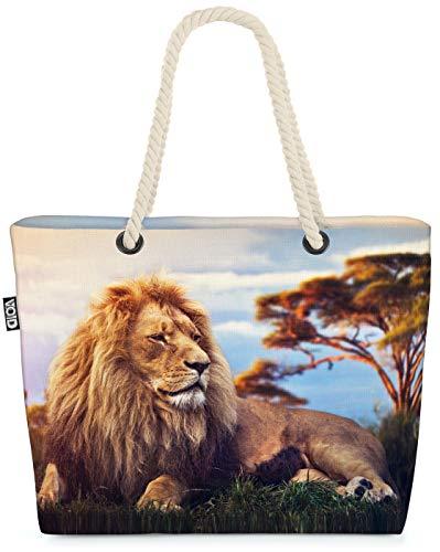 VOID Löwe Afrika Safari Strandtasche Shopper 58x38x16cm 23L XXL Einkaufstasche Tasche Reisetasche Beach Bag