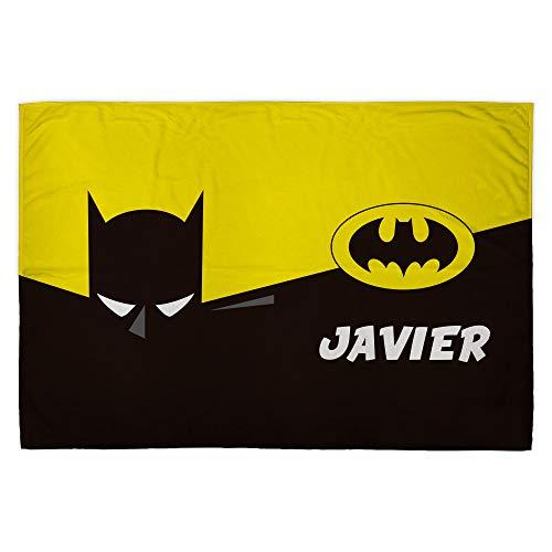 LolaPix Manta Batman. Manta Personalizada. Regalo Friki. Superhéroes. Tejido Certificado Oeko-Tex. Tamaño aproximado 95x140cm. Batman