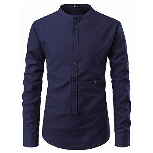 Lässiges Herrenhemd, koreanischer Stil, ohne Kragen, Langarm, Businesshemd Gr. Asain Größe L, Herrenhemd Marineblau