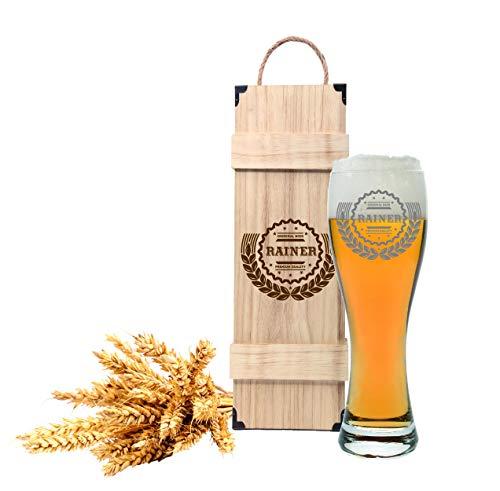 FORYOU24 Leonardo Weizenglas mit Gravur und Holzbox Motiv Prost I - Geschenkidee Bierglas graviert