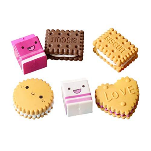6 unidades de caja embalada con bonitas gomas de borrar Kawaii para galletas, colegio, papelería, regalo creativo para niños, estudiantes