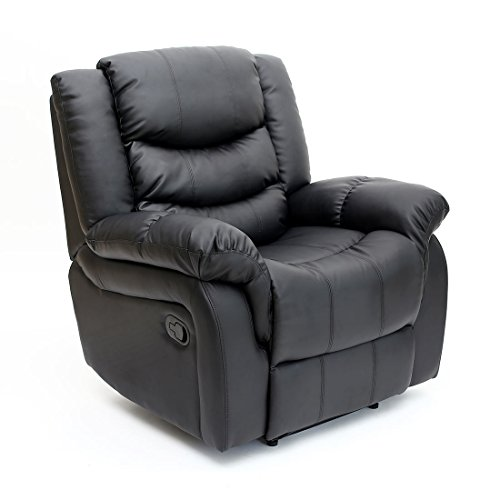 Seattle Bonded Leather Recliner Armchair Sofa Home Lounge Chair Reclining Gaming (Black)