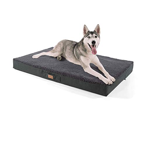 brunolie Balu sehr großes Hundebett in Dunkelgrau, waschbar, orthopädisch und rutschfest, kuscheliges Hundekissen mit atmungsaktivem Memory-Schaum, Größe XL (120 x 72 x 10 cm)
