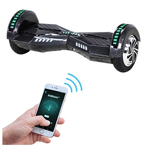 Robway W2 Hoverboard - Das Original - Samsung Marken Akku - Self Balance - 3 Farben - Bluetooth - 2 x 350 Watt Motor - 8 Zoll Reifen (Carbon)