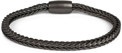 styleBREAKER Zopfketten Armband mit Magnetverschluss, Kette, Schmuck, Damen 05040132, Farbe:Anthrazit