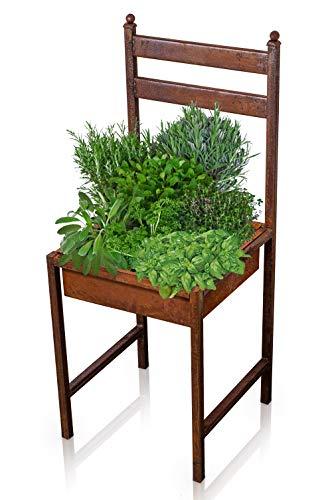 Blümelhuber Rost Deko für Garten Metallstuhl -Rostige Vintage Garten Dekoration zum Bepflanzen - Gartendeko Rostoptik Pflanzschale groß für Garten, Terasse oder Balkon
