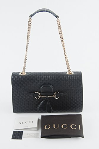 Fashion Shopping Gucci Women's Micro GG Guccissima Leather Emily Purse Handbag (Black)