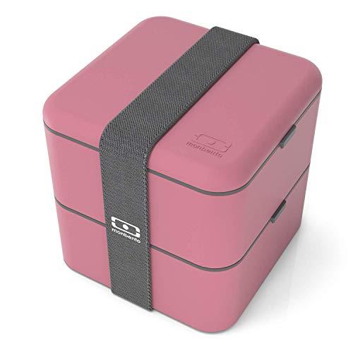 monbento - MB Square bento box - Lunch box hermétique 2 étages - Boîte repas idéale pour le travail/école - sans BPA - durable et sûre (Square, rose Blush) (Cuisine)