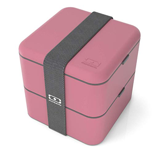 monbento - MB Square bento box - Lunch box hermétique 2 étages - Boîte repas idéale pour le travail/école - sans BPA - durable et sûre (Square, rose Blush)