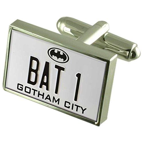 Batman Bat 1 Nummernschild 925 Sterling Silber Manschettenknöpfe Boxed