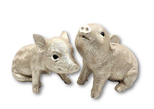 2 Schweinchen Ferkel Figuren in Champagner bis 26 cm Tierfigur Glücksbringer