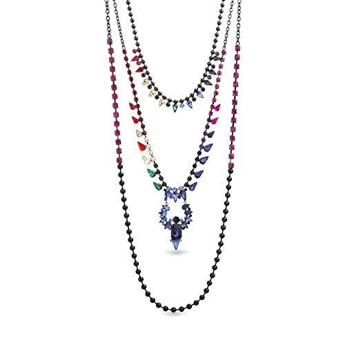 Steve Madden Women's 3 Layer Rainbow Rhinestone Gunmetal-Tone Necklace