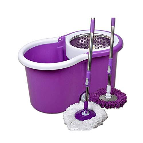 Cxjff Rotary Mop Bucket Mop Bucket aus Edelstahl + 2 Mop-Stangen + 4 Mop-Köpfe (Color : Purple)