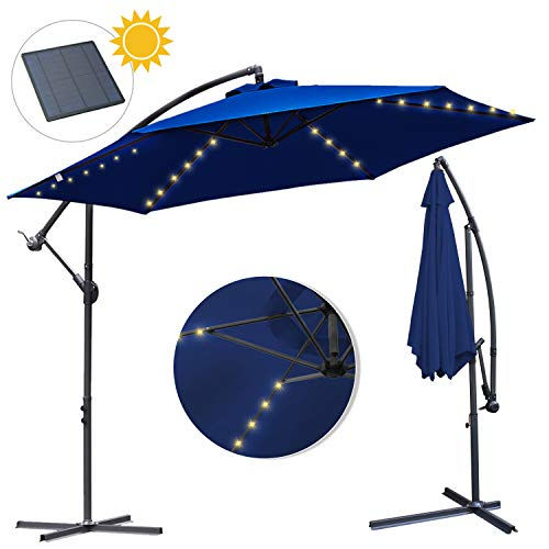 wolketon Alu Ampelschirm Ø 300cm mit Solar LED Warmweiß Beleuchtung UV 30+ Wasserabweisende Sonnenschirm Schirm Gartenschirm Marktschirm Kurbelschirm