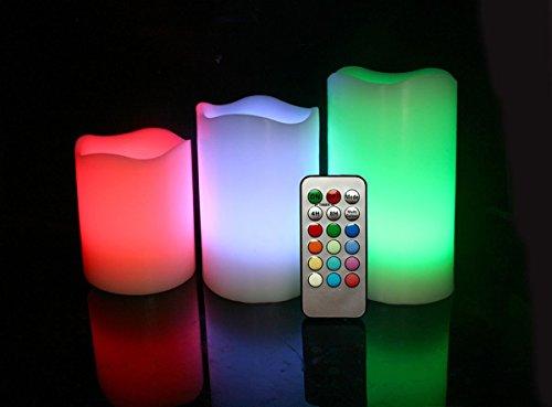 As Direct Ltd TM Lot de 3 bougies LED sans flamme, parfumées en cire véritable avec minuterie et télécommande