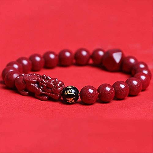 Gymqian Feng Shui Amuleto Pulsera Prosperidad Natural Cinnabar Pixiu/Piyao Pulsera Atraer Lucky Wealthy Love Transfer Regal Bangle para Mujeres/Hombres Exquisito