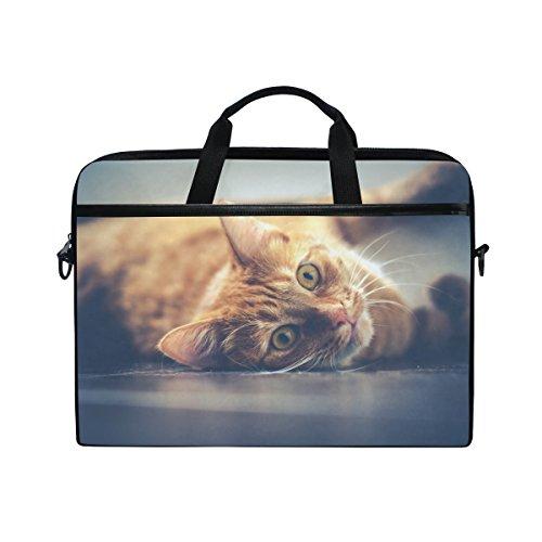 Ahomy 38,1–39,1cm Laptop Laptop, Cat Pet Canvas Stoff Tasche zudem Handtasche mit Schultergurt für Damen und Herren