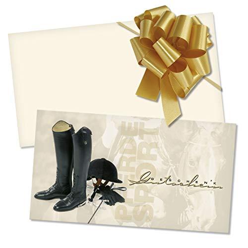 100 Gutscheinkarten + 100 Kuverts + 100 Schleifen. Vorderseite glänzend. Geschenkgutscheine für Reitsportgeschäft Reitsportbedarf Reitstunden. SP1211