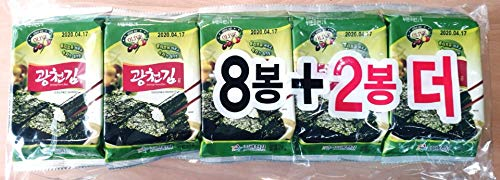 10er Pack, 10x5g, Seealagen Snack, Gewürzter Seetang, Seasoned Seaweed