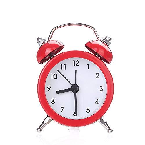 Espejo Despertadores Control de Sonidos de Temperatura Reloj de Mesa de Escritorio Campana Doble Aleación silenciosa Reloj Despertador de Metal Inoxidable 19MAY14-C_China