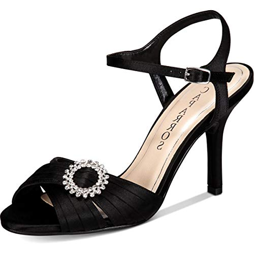 Caparros Womens Pizzle Satin Peep Toe Casual Ankle Strap Black