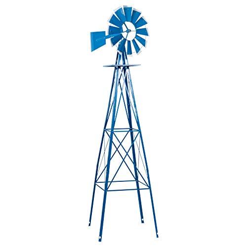 Crownland 8FT Ornamental Windmill Backyard Garden Decoration Weather Vane, Heavy Duty Metal Wind Mill Weather Resistant 4 Legs Design (Blue)
