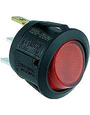 Rode Verlichte Ronde Tuimelschakelaar SPST 230V 10A Dash Automobiel Auto