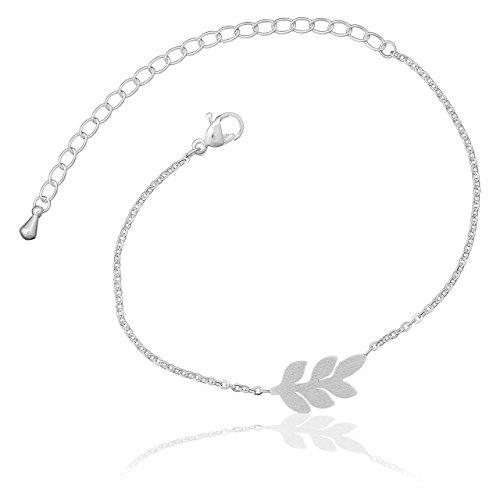 Selia Feder Armband Feather Olivenzweig Armreif Leaf Blatt minimalistische Optik Edelstahl handgemacht (Silber)