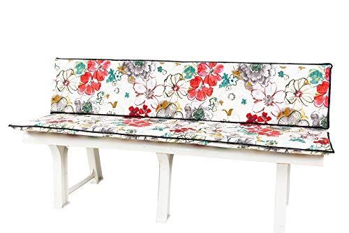 Kettler Polen KETTtex 0843 Auflage Gartenbank 2-teilig Blumen Sitzpolster 150 cm