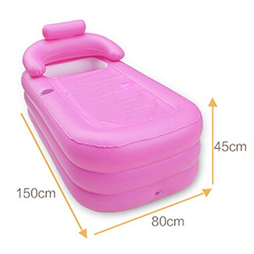 GFL Erwachsenes Badekurort PVC, das tragbare Badewanne für erwachsene aufblasbare Badewannen-Größe 150cm * 80cm * 45cm mit elektrischer Pumpe faltet (Farbe : B)
